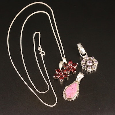 Sterling Pendants and Necklace with Garnet, Amethyst and Druzy