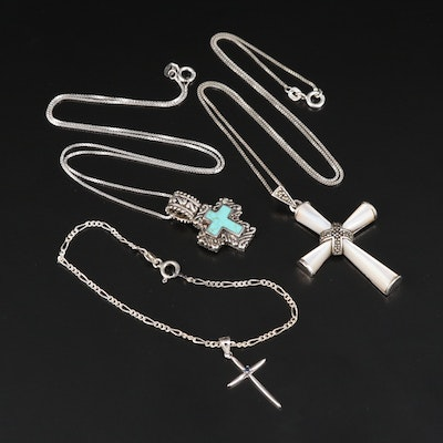 Sterling Silver Mother of Pearl, Marcasite and Faux Turquoise Cross Jewelry