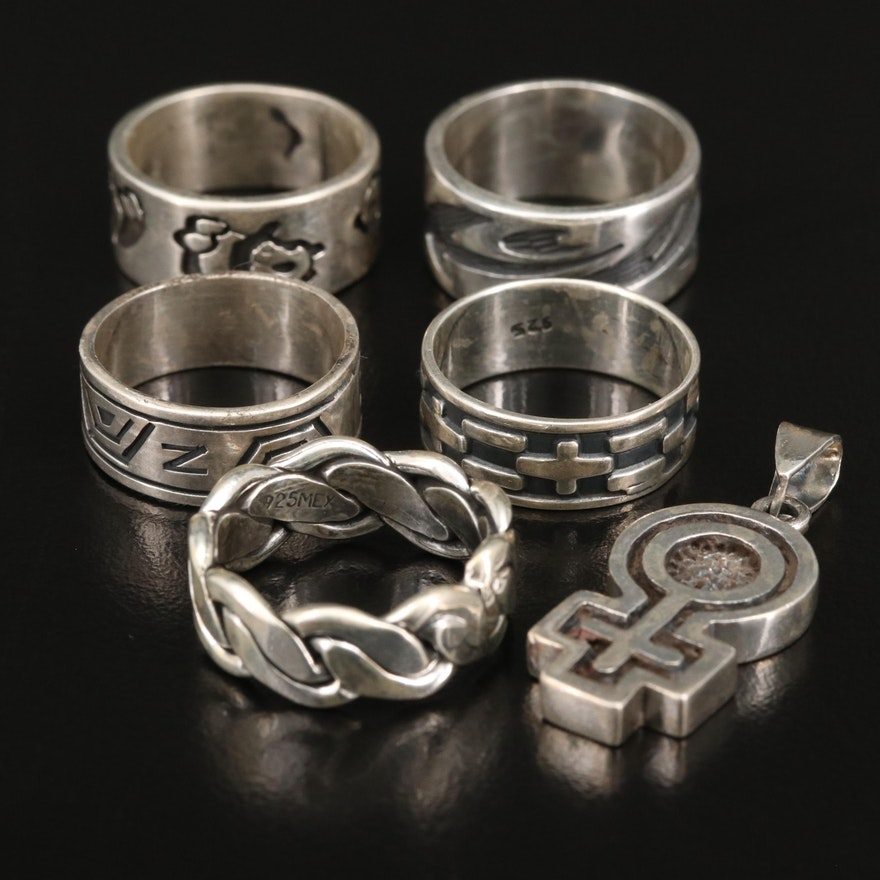 Sterling Rings Featuring Female Symbol Pendant and Bear Band