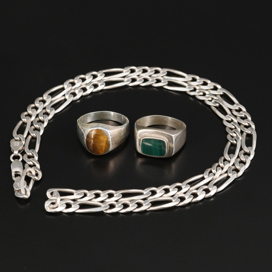 Sterling Silver Tiger's-Eye Quartz and Malachite Rings with Chain