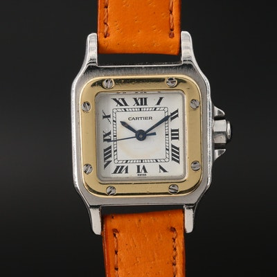 Cartier Santos 18K Gold and Stainless Steel Automatic Wristwatch