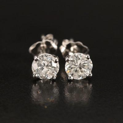 Platinum 1.02 CTW Diamond Stud Earrings with Links GIA eReports
