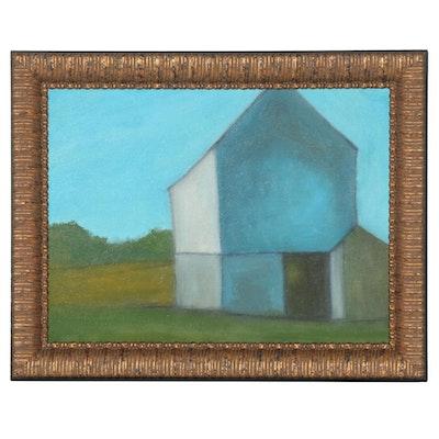 """Brian J. Hannon Oil Painting """"Barn in Salt Marsh,"""" 2020"""