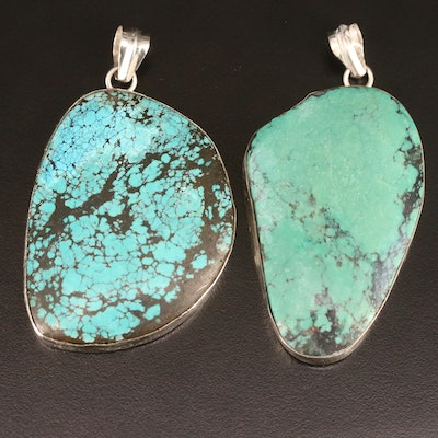 Western 800 Silver Turquoise Pendants