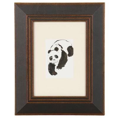 "Lin Li Watercolor Painting ""Happy Panda,"" 2021"