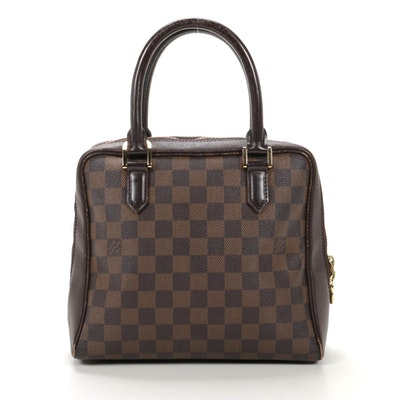 Louis Vuitton Brera Top Handle Bag in Damier Ebene Canvas and Leather