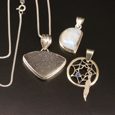 Sterling Pendants and Necklace Including Druzy and Labradorite