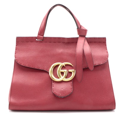 Gucci GG Marmont Top Handle Two-Way Bag in Red Grained Leather