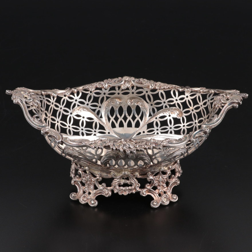 Francis Boone Thomas & Co. Openwork Sterling Silver Basket, 1883