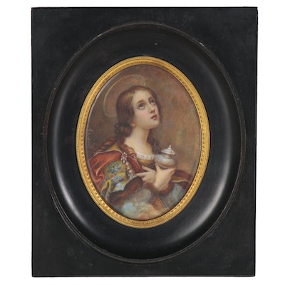 Ecclesiastical Gouache Painting after Carlo Dolci, Early 20th Century