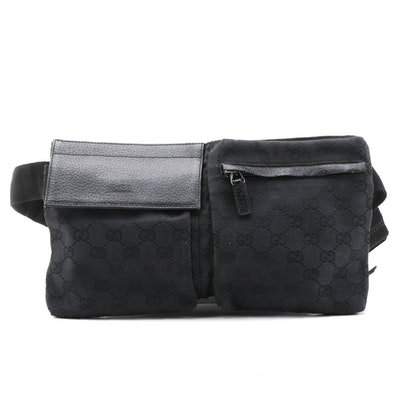 Gucci Black GG Supreme Canvas and Leather Double Pocket Belt Bag