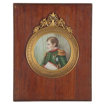 Portrait Gouache Painting of Napoléon Bonaparte, Early 20th Century