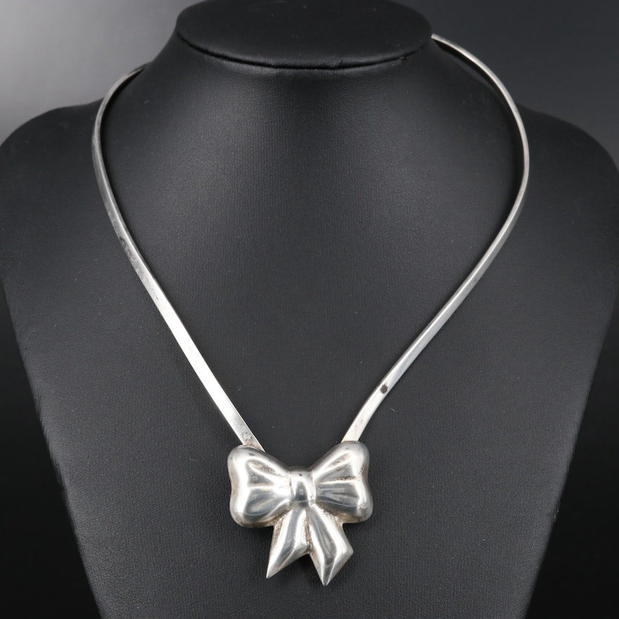 Mexican Style Sterling Silver Bow Necklace