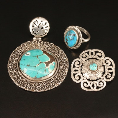Southwestern Style Sterling Silver and Turquoise Jewelry