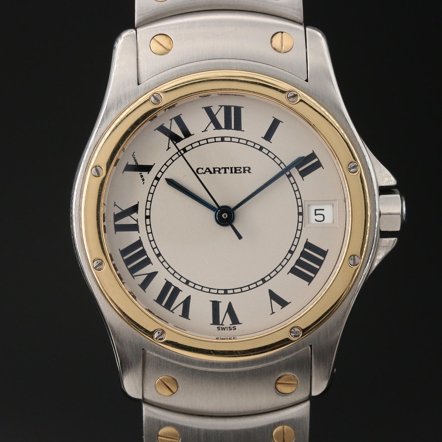 Cartier Santos Ronde 18K Yellow Gold and Stainless Steel Automatic Wristwatch