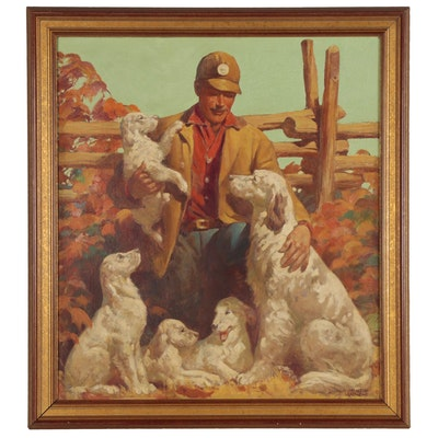 J. Clinton Shepherd Oil Painting of Man with English Setters