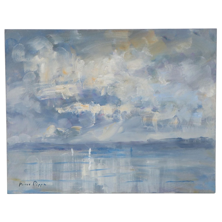 """Nino Pippa Oil Painting """"Normandy - Sailboats by the Mouth of the Seine"""""""