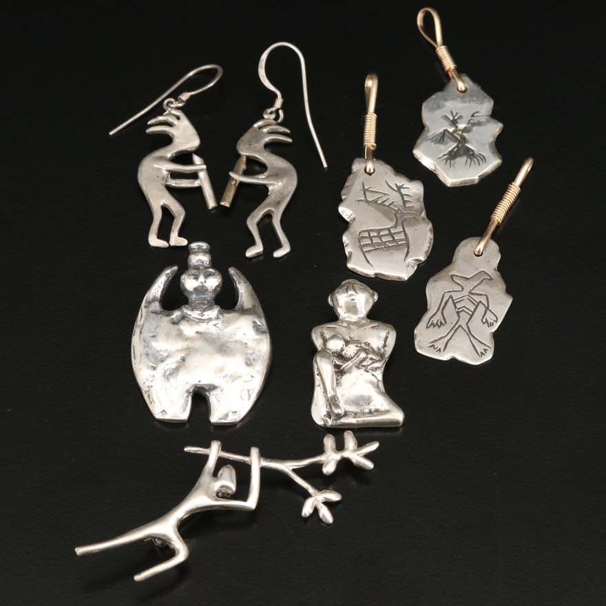 Sterling  Kokopelli Earrings and Petroglyph Pendants