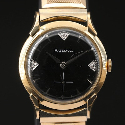 1958 Bulova Diamond Dial 10K Gold Filled Stem Wind Wristwatch
