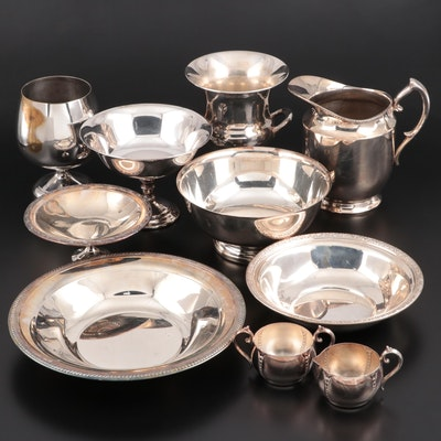Alvin Sterling Silver and Other Silver Plate Tableware, Mid-Late 20th Century