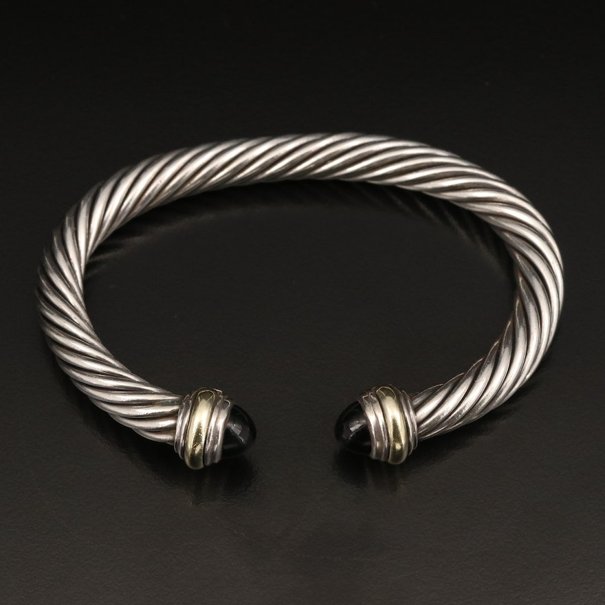 David Yurman Sterling Silver Black Onyx Cable Cuff