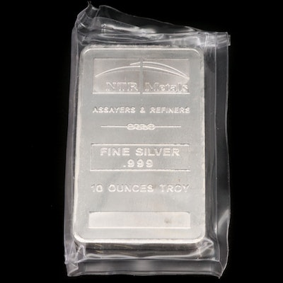 NTR Metals 10 Troy Ounce .999 Fine Silver Bar