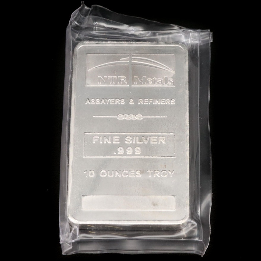 NTR Metals 10 Troy Ounce .999 Fine Silver Bar