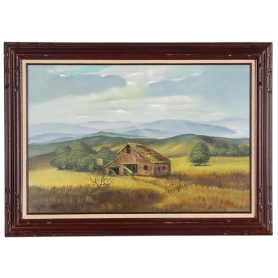 Landscape Oil Painting with Barn, Late 20th Century