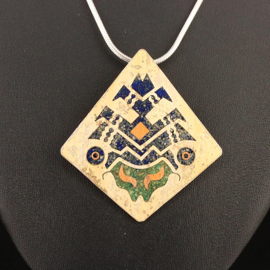 Mexican Sterling Sodalite Inlay Converter Brooch Pendant Necklace