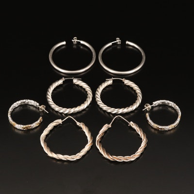 Sterling Hoop and Three Quarter Hoop Earrings