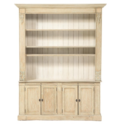 French Provincial Style Distressed Finish Buffet with Hutch