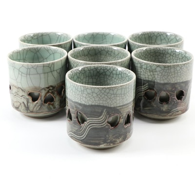 Japanese Obori-Soma Ware Crackle Glaze Ceramic Tea or Saki Cups