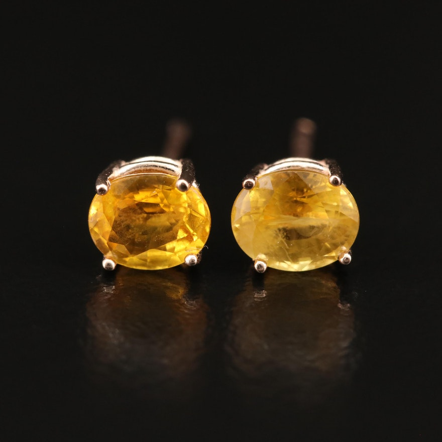 14K Yellow Sapphire Stud Earrings