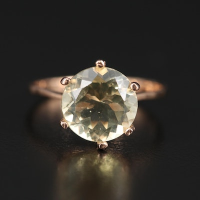 14K Citrine Solitaire Ring