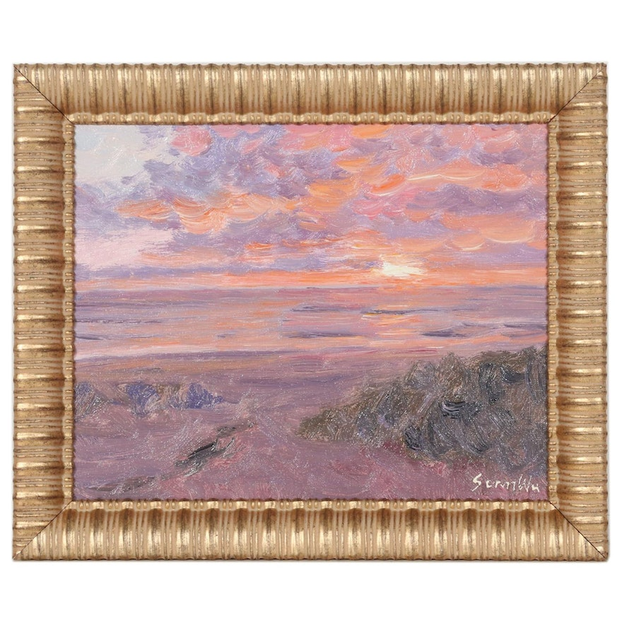 Sean Wu Oil Painting of Beach Sunset, 2021