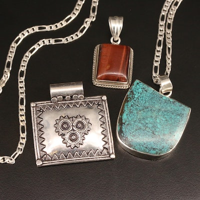 Sterling Pendants and Figaro Chain Necklace with Tiger's Eye and Turquoise