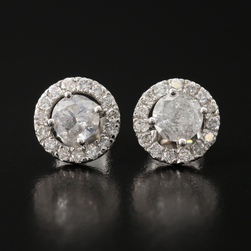 Platinum 2.94 CTW Diamond Halo Earrings