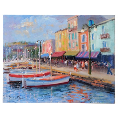 "Nino Pippa Oil Painting ""French Riviera-St. Tropez Harbor Scene,"" 2012"