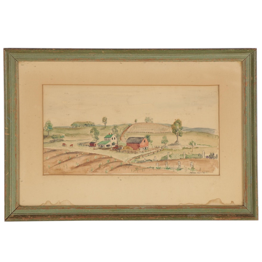 Martin Watercolor Painting of Farmscape, 1954