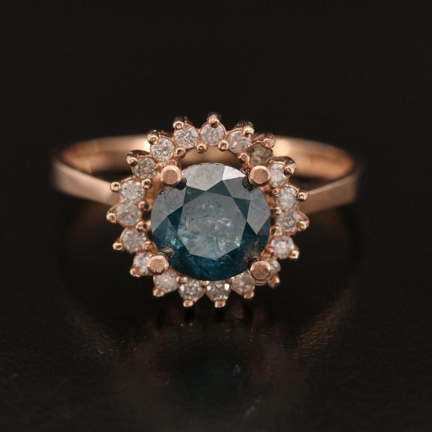 14K Rose Gold 1.72 CTW Blue Diamond and Diamond Halo Ring