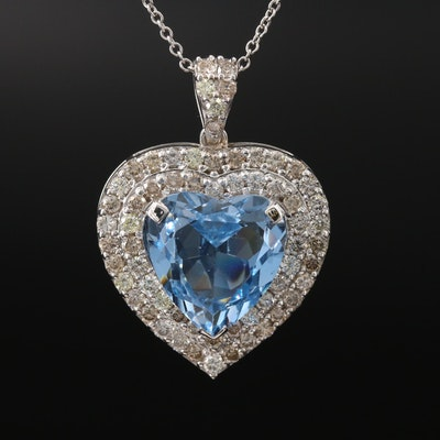 14K 8.77 CT Topaz and 1.80 CTW Diamond Heart Necklace