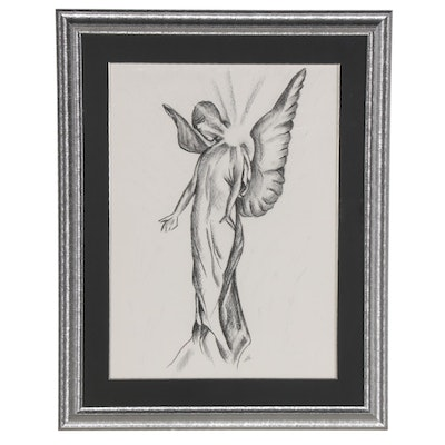 Charcoal Drawing of Angelic Figure, 21st Century