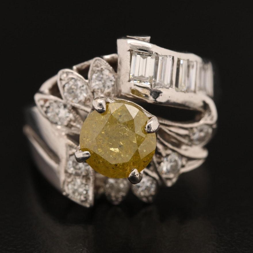 14K 2.33 CTW Diamond Cluster Ring
