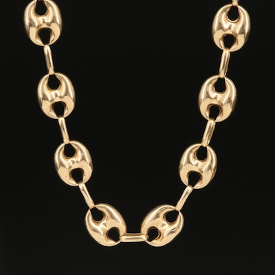 14K Puffed Mariner Link Necklace