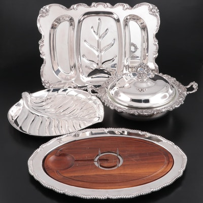 Webster & Wilcox Silver Plate Meat Carving Platter and Other Serveware