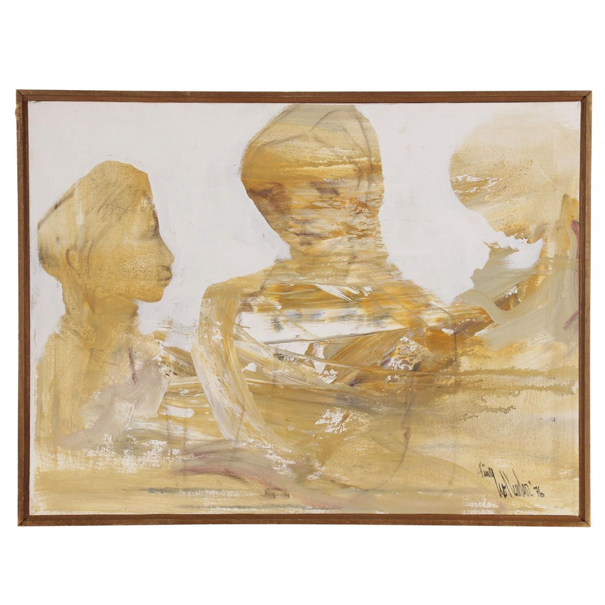 Gino Hollander Abstract Figural Oil Painting, 1976