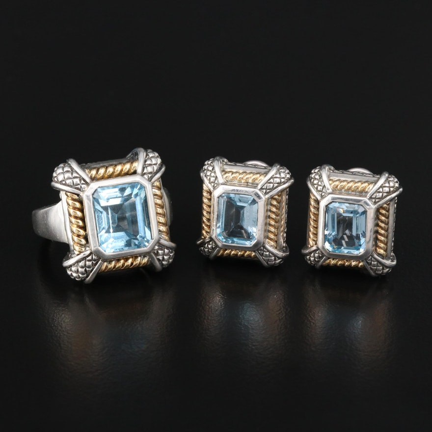 Sterling Silver Topaz Ring and Earring Set with 18K Accents