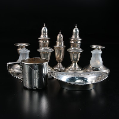 American Weighted Sterling Silver Shakers, Candlesticks and Serveware