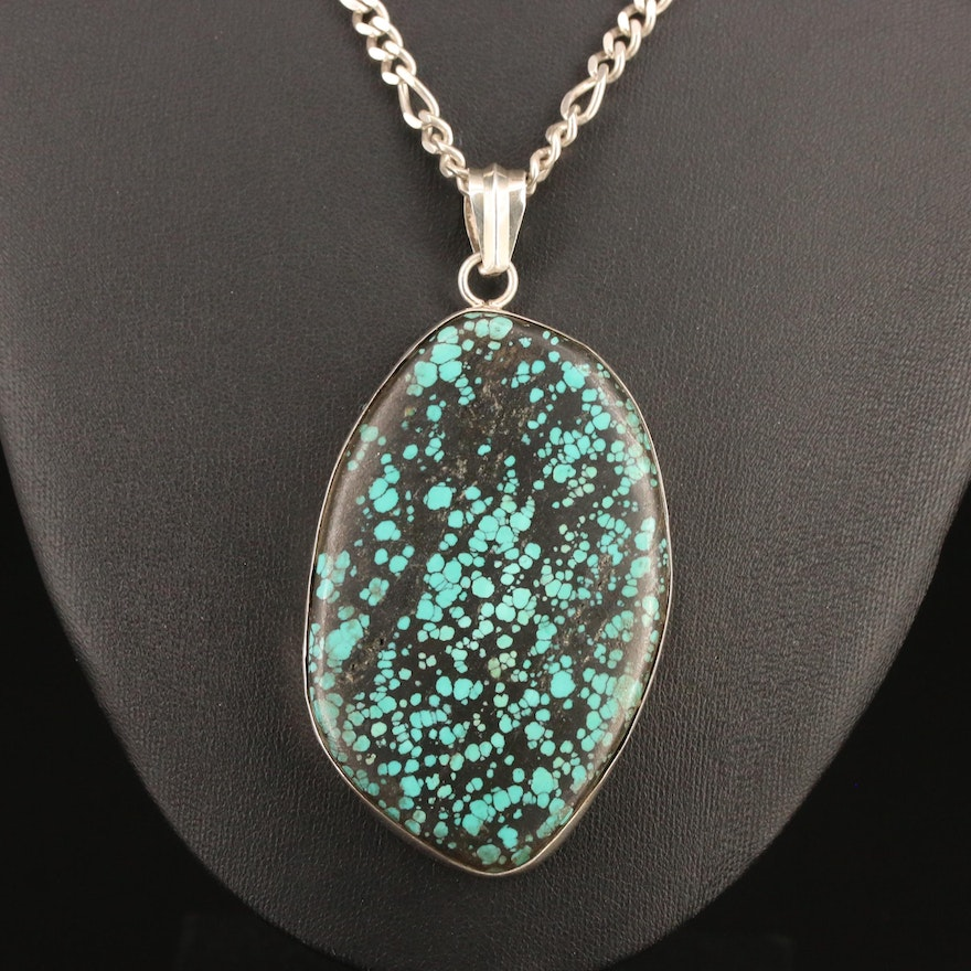800 Silver Turquoise Pendant on Sterling Silver Figaro Chain Necklace