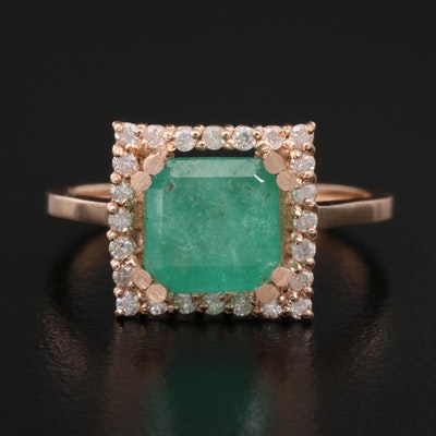 14K 2.07 CT Emerald and Diamond Ring